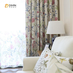 DIHINHOME Home Textile Pastoral Curtain DIHIN HOME Birds and Gorgeous Flowers Printed,Blackout Grommet Window Curtain for Living Room ,52x63-inch,1 Panel