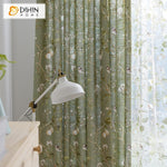 DIHINHOME Home Textile Pastoral Curtain DIHIN HOME Birds on Branch Printed,Blackout Grommet Window Curtain for Living Room ,52x63-inch,1 Panel