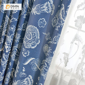 DIHINHOME Home Textile Pastoral Curtain DIHIN HOME Blue Begonia Flower Embroidered Curtain ,Cotton Linen ,Blackout Grommet Window Curtain for Living Room ,52x63-inch,1 Panel