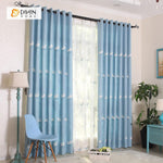 DIHINHOME Home Textile Pastoral Curtain DIHIN HOME  Blue Dandelion Embroidered,Blackout Grommet Window Curtain for Living Room ,52x63-inch,1 Panel