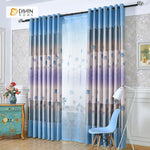 DIHINHOME Home Textile Pastoral Curtain DIHIN HOME Blue Dandelion Printed,Blackout Grommet Window Curtain for Living Room ,52x63-inch,1 Panel