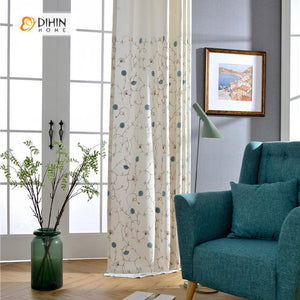 DIHINHOME Home Textile Pastoral Curtain DIHIN HOME Blue Field Flowers Embroidered Curtain ,Cotton Linen ,Blackout Grommet Window Curtain for Living Room ,52x63-inch,1 Panel