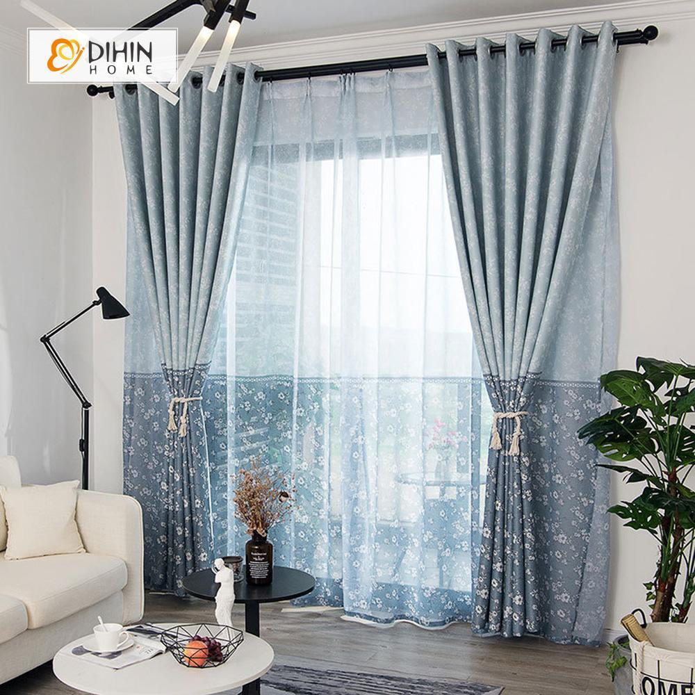 DIHINHOME Home Textile Pastoral Curtain DIHIN HOME Blue Floret Printed,Blackout Grommet Window Curtain for Living Room ,52x63-inch,1 Panel