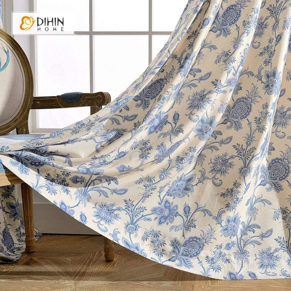 DIHINHOME Home Textile Pastoral Curtain DIHIN HOME Blue Flower Printed ,Cotton Linen ,Blackout Grommet Window Curtain for Living Room ,52x63-inch,1 Panel