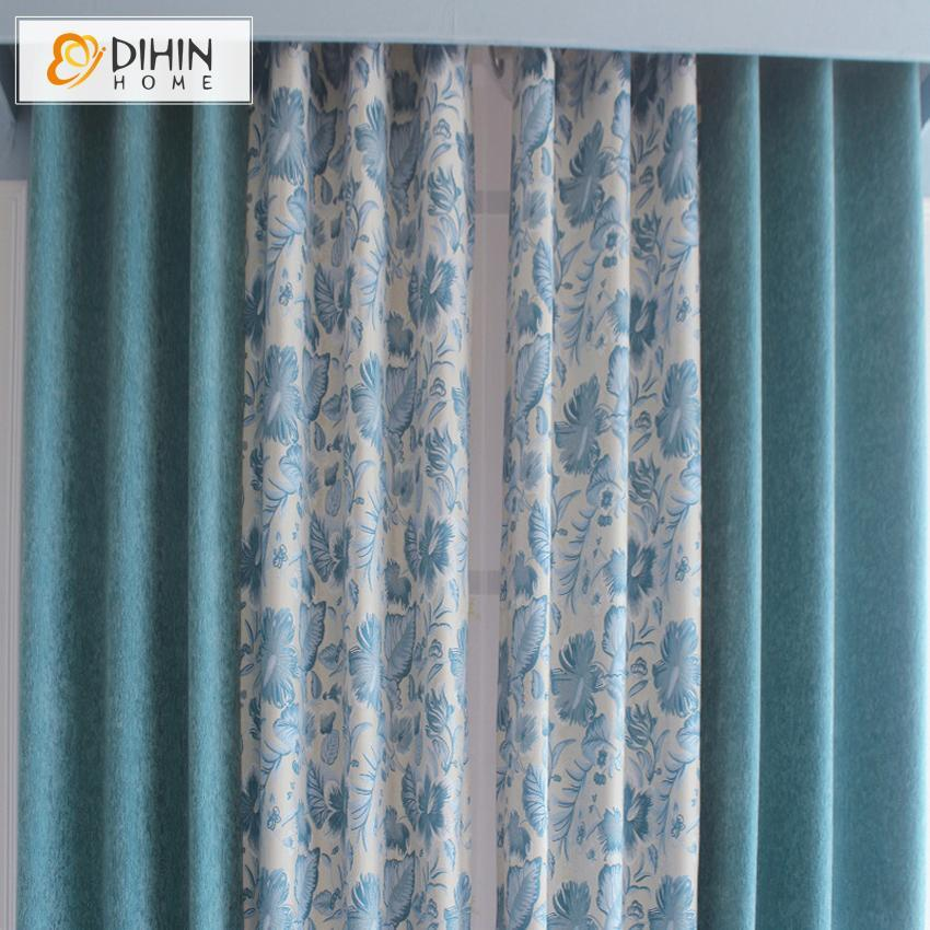 DIHIN HOME Blue Flowers Printed White Background,Blackout Grommet Window  Curtain for Living Room ,52x63-inch,1 Panel