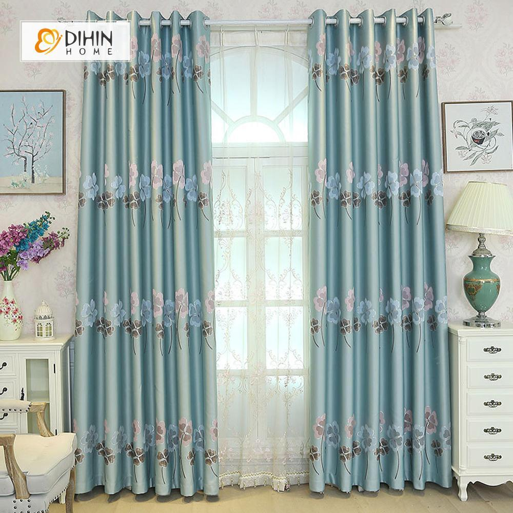 DIHINHOME Home Textile Pastoral Curtain DIHIN HOME Blue Four-leaf Clovers Embroidered,Blackout Grommet Window Curtain for Living Room ,52x63-inch,1 Panel