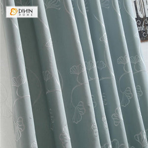 DIHINHOME Home Textile Pastoral Curtain DIHIN HOME Blue Ginkgo Flower Embroidered Curtain ,Cotton Linen ,Blackout Grommet Window Curtain for Living Room ,52x63-inch,1 Panel