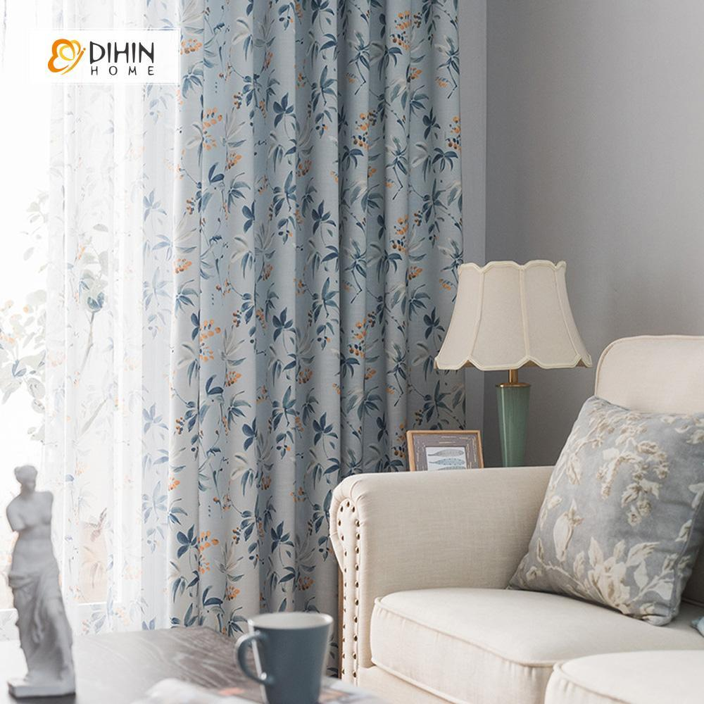 DIHINHOME Home Textile Pastoral Curtain DIHIN HOME Blue Leaves Yellow Bud Printed,Blackout Grommet Window Curtain for Living Room ,52x63-inch,1 Panel