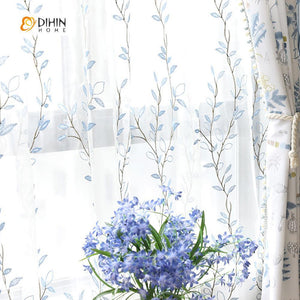 DIHINHOME Home Textile Pastoral Curtain DIHIN HOME Blue Leaves Yellow Flowers Printed,Blackout Grommet Window Curtain for Living Room ,52x63-inch,1 Panel