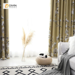 DIHINHOME Home Textile Pastoral Curtain DIHIN HOME Branch and White Flowers Printed,Blackout Grommet Window Curtain for Living Room ,52x63-inch,1 Panel