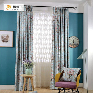 DIHINHOME Home Textile Pastoral Curtain DIHIN HOME Bright Colorful Flowers Printed,Blackout Grommet Window Curtain for Living Room ,52x63-inch,1 Panel