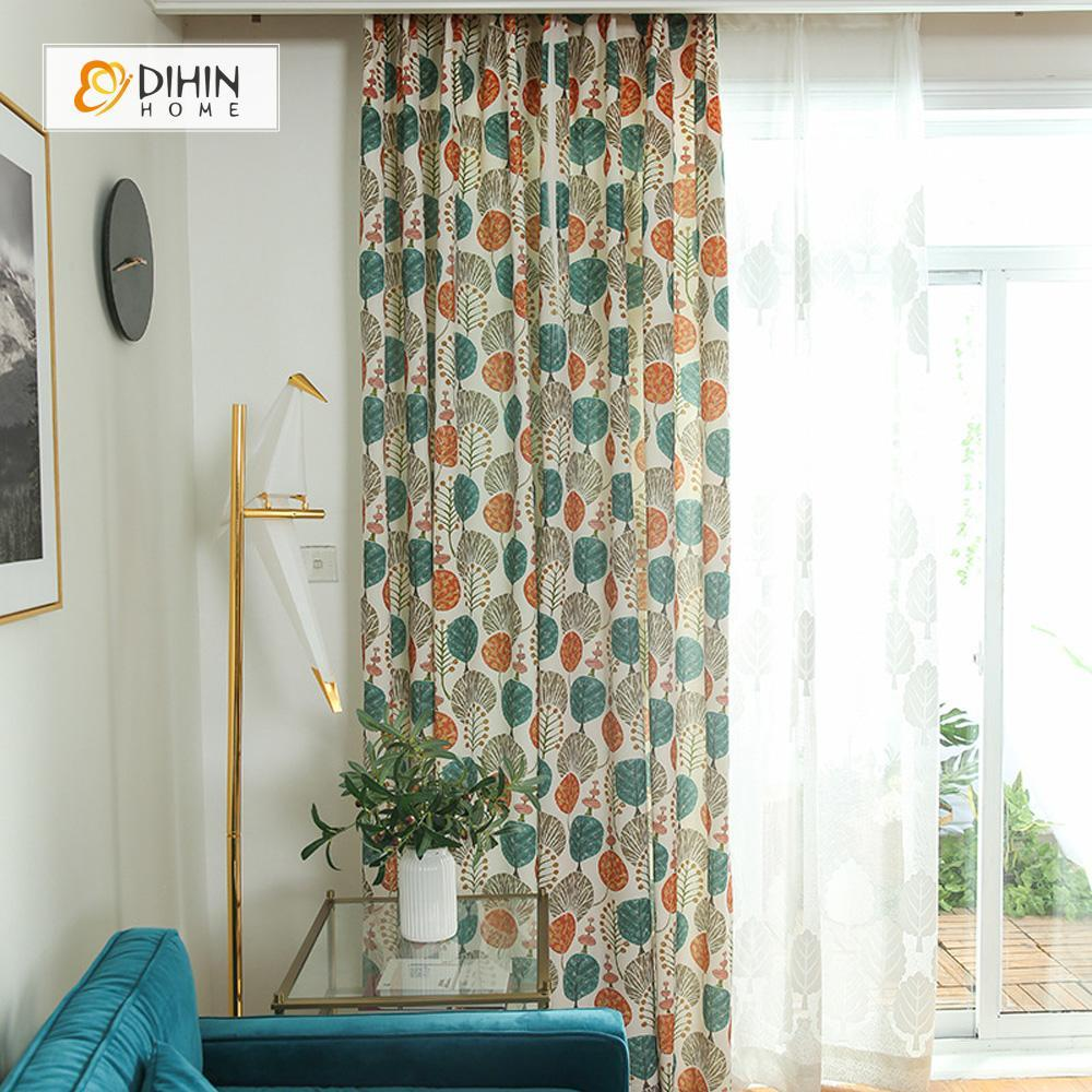 DIHINHOME Home Textile Pastoral Curtain DIHIN HOME Brilliant And Round Leaves Printed ,Cotton Linen ,Blackout Grommet Window Curtain for Living Room ,52x63-inch,1 Panel
