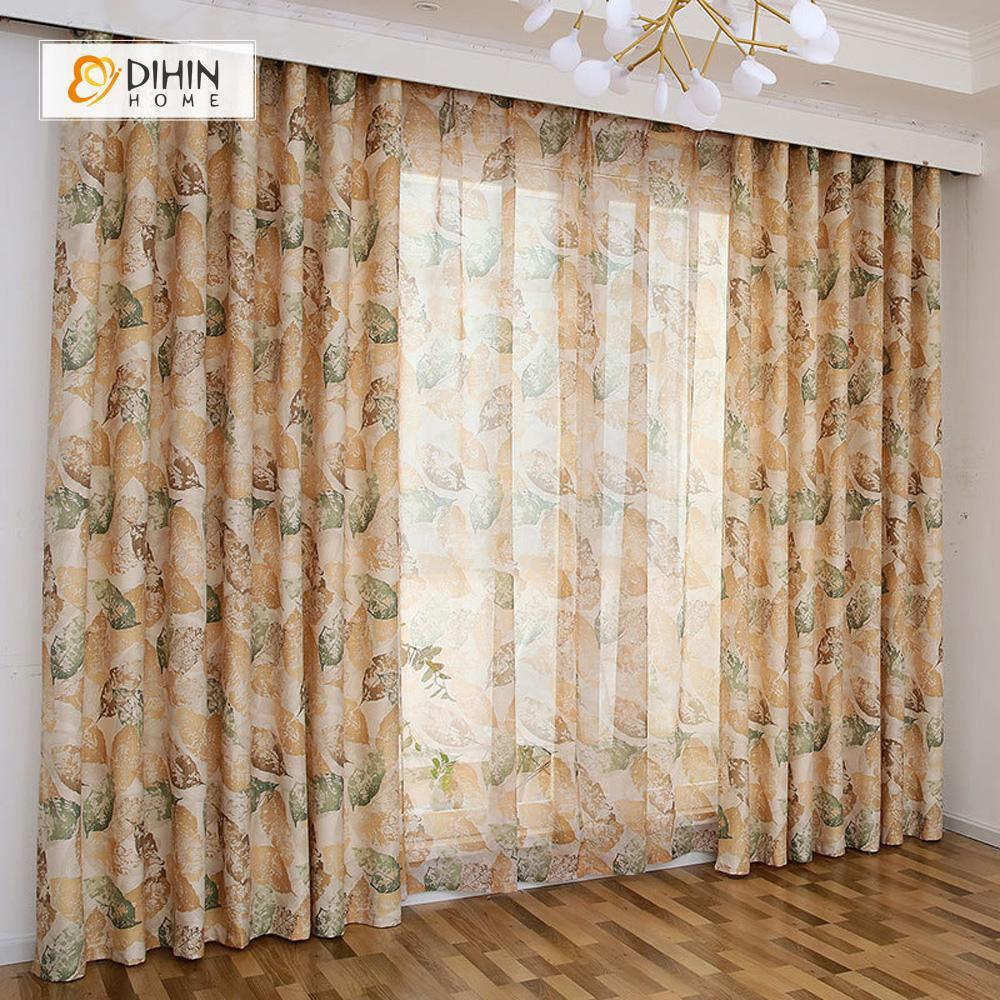 DIHINHOME Home Textile Pastoral Curtain DIHIN HOME Brown and Green Leaves Printed,Blackout Grommet Window Curtain for Living Room ,52x63-inch,1 Panel