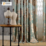 DIHINHOME Home Textile Pastoral Curtain DIHIN HOME Brown Flowers Velvet, Jacquard,Blackout Grommet Window Curtain for Living Room ,52x63-inch,1 Panel