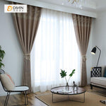 DIHINHOME Home Textile Pastoral Curtain DIHIN HOME Brown Leaves In the Bottom Printed,Blackout Grommet Window Curtain for Living Room ,52x63-inch,1 Panel
