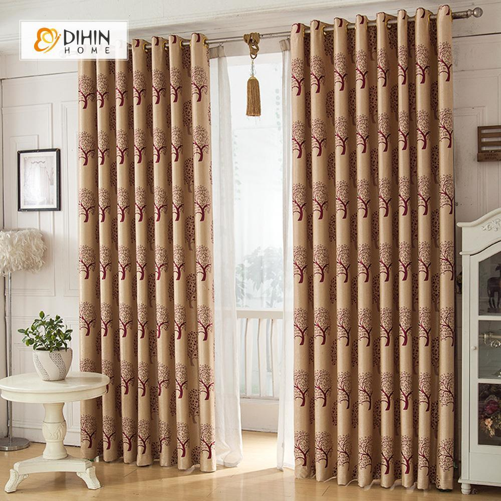 DIHINHOME Home Textile Pastoral Curtain DIHIN HOME Brown Tree Printed,Blackout Grommet Window Curtain for Living Room ,52x63-inch,1 Panel