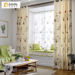 DIHINHOME Home Textile Pastoral Curtain DIHIN HOME Butterflies and Dandelions Printed,Blackout Grommet Window Curtain for Living Room ,52x63-inch,1 Panel