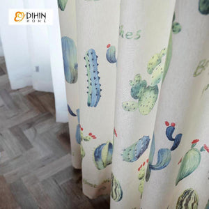 DIHINHOME Home Textile Pastoral Curtain DIHIN HOME Cactus Printed,Blackout Grommet Window Curtain for Living Room ,52x63-inch,1 Panel