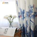 DIHINHOME Home Textile Pastoral Curtain DIHIN HOME Chinese Style Flowers Printed ,Cotton Linen,Blackout Grommet Window Curtain for Living Room ,52x63-inch,1 Panel