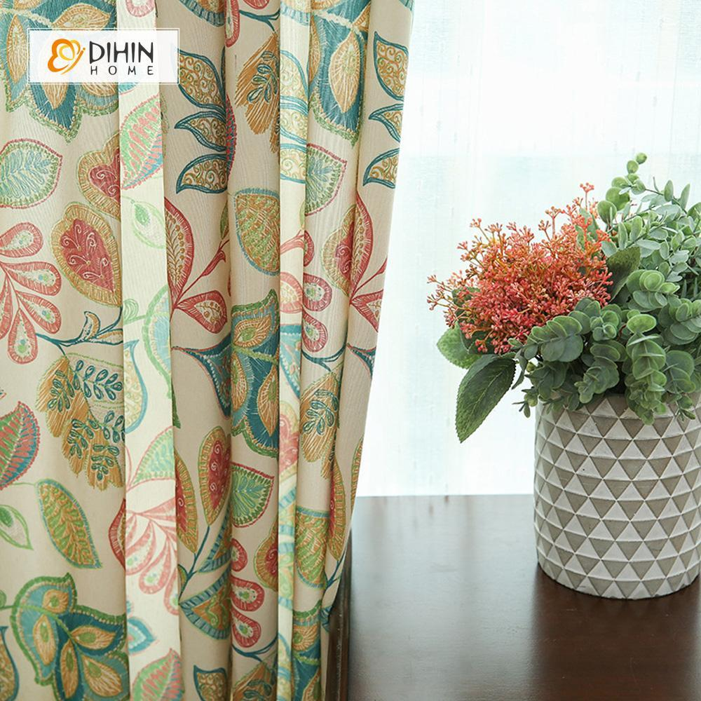 DIHINHOME Home Textile Pastoral Curtain DIHIN HOME Clear and Bright Leaves Printed ,Cotton Linen ,Blackout Grommet Window Curtain for Living Room ,52x63-inch,1 Panel