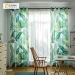 DIHINHOME Home Textile Pastoral Curtain DIHIN HOME Clear Green Leaf Printed,Blackout Grommet Window Curtain for Living Room ,52x63-inch,1 Panel
