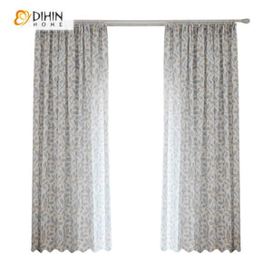 DIHINHOME Home Textile Pastoral Curtain DIHIN HOME Cotton Linen Bird and Tree Printed,Blackout Grommet Window Curtain for Living Room ,52x63-inch,1 Panel