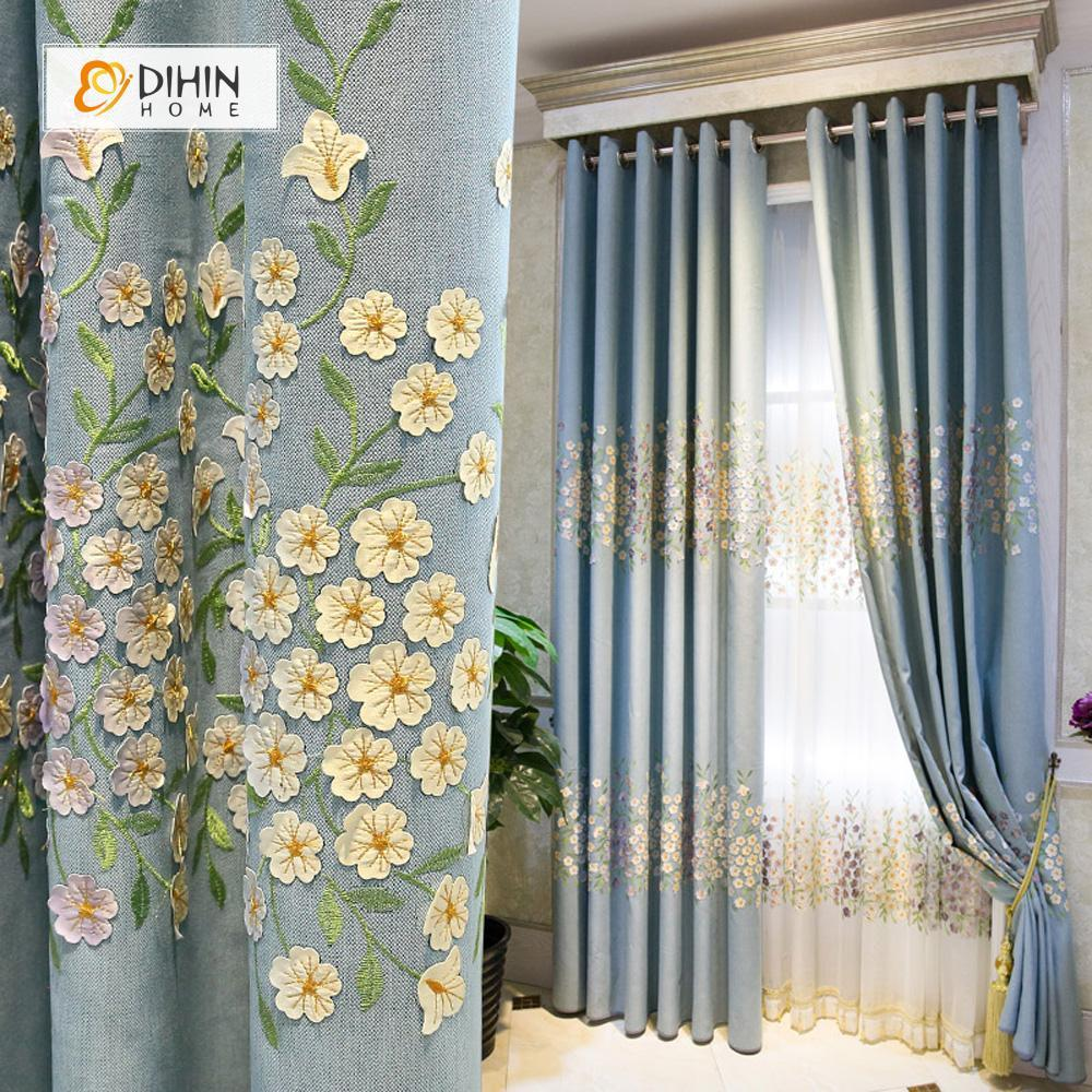 DIHINHOME Home Textile Pastoral Curtain DIHIN HOME Cute Flowers Embroidered,Blackout Grommet Window Curtain for Living Room ,52x63-inch,1 Panel