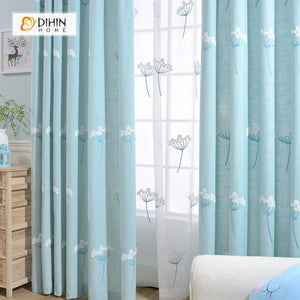 DIHINHOME Home Textile Pastoral Curtain DIHIN HOME Dandelion Embroidered ,Cotton Linen ,Blackout Grommet Window Curtain for Living Room ,52x63-inch,1 Panel
