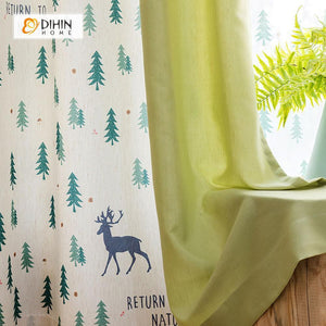 DIHINHOME Home Textile Pastoral Curtain DIHIN HOME Deer and Green Tree Printed,Blackout Grommet Window Curtain for Living Room ,52x63-inch,1 Panel