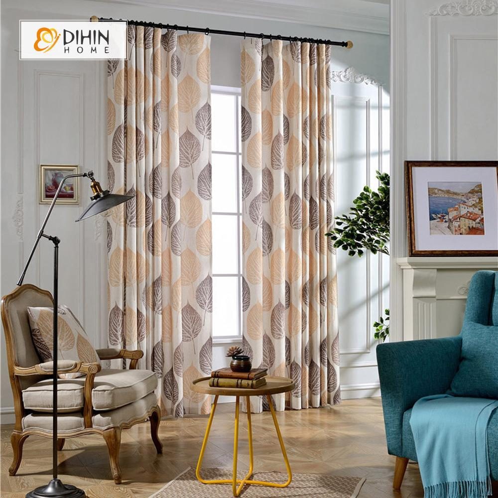 DIHINHOME Home Textile Pastoral Curtain DIHIN HOME Defoliation Shatter Printed Curtain ,Cotton Linen ,Blackout Grommet Window Curtain for Living Room ,52x63-inch,1 Panel