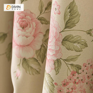 DIHINHOME Home Textile Pastoral Curtain DIHIN HOME Elegant Rose Printed,Blackout Grommet Window Curtain for Living Room ,52x63-inch,1 Panel