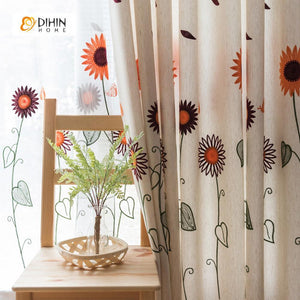 DIHINHOME Home Textile Pastoral Curtain DIHIN HOME Elegant Sunflower Printed,Blackout Grommet Window Curtain for Living Room ,52x63-inch,1 Panel