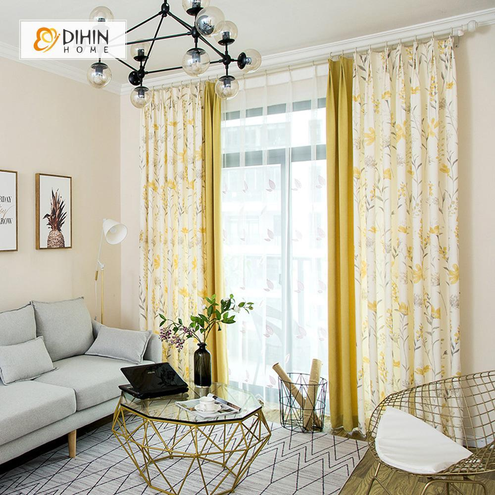 DIHINHOME Home Textile Pastoral Curtain DIHIN HOME Elegant Yellow Flowers Printed,Blackout Grommet Window Curtain for Living Room ,52x63-inch,1 Panel