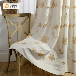 DIHINHOME Home Textile Pastoral Curtain DIHIN HOME Embroidered Maple Leaf Curtain ,Cotton Linen ,Blackout Grommet Window Curtain for Living Room ,52x63-inch,1 Panel