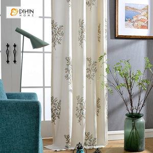 DIHINHOME Home Textile Pastoral Curtain DIHIN HOME Embroidered Tree Pattern ,Cotton Linen ,Blackout Grommet Window Curtain for Living Room ,52x63-inch,1 Panel