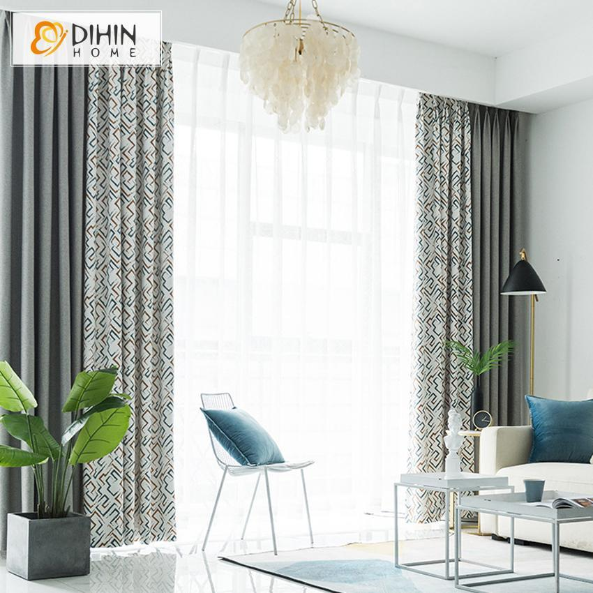 DIHINHOME Home Textile Pastoral Curtain DIHIN HOME European Geometric Spliced Curtains,Blackout Grommet Window Curtain for Living Room ,52x63-inch,1 Panel
