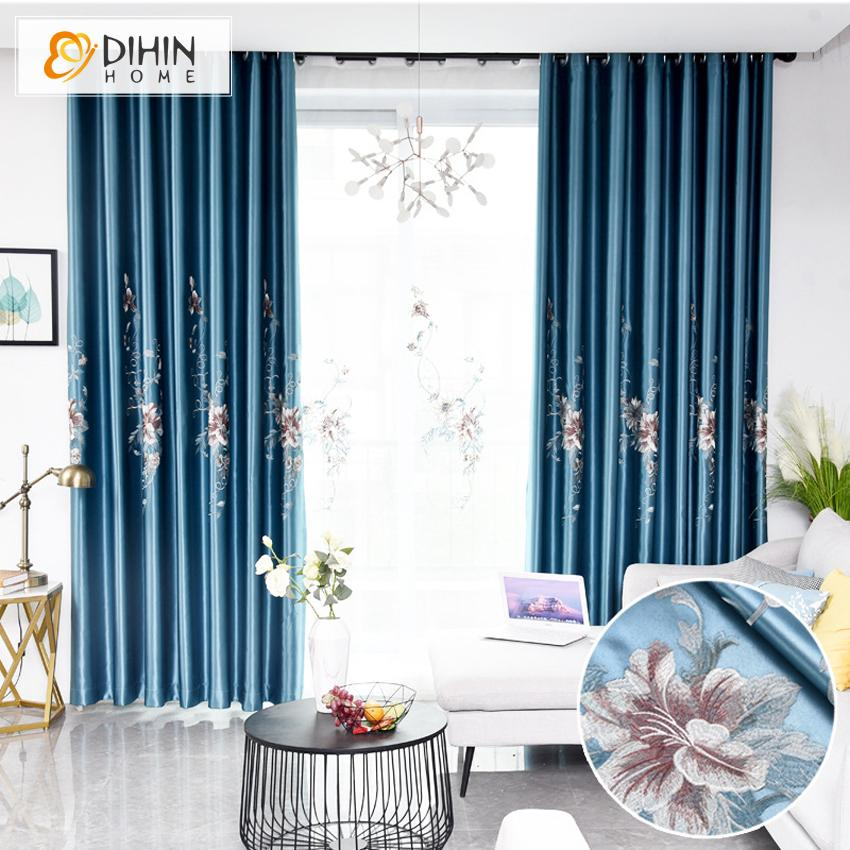 DIHINHOME Home Textile Pastoral Curtain DIHIN HOME European Luxury Blue Color Embroidered,Blackout Curtains Grommet Window Curtain for Living Room ,52x84-inch,1 Panel