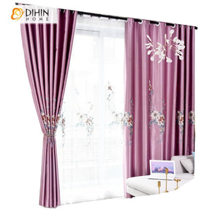 DIHINHOME Home Textile Pastoral Curtain DIHIN HOME European Luxury Purple Color Embroidered,Blackout Curtains Grommet Window Curtain for Living Room ,52x84-inch,1 Panel