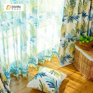 DIHINHOME Home Textile Pastoral Curtain DIHIN HOME Exquisite Leaves Printed,Blackout Grommet Window Curtain for Living Room ,52x63-inch,1 Panel