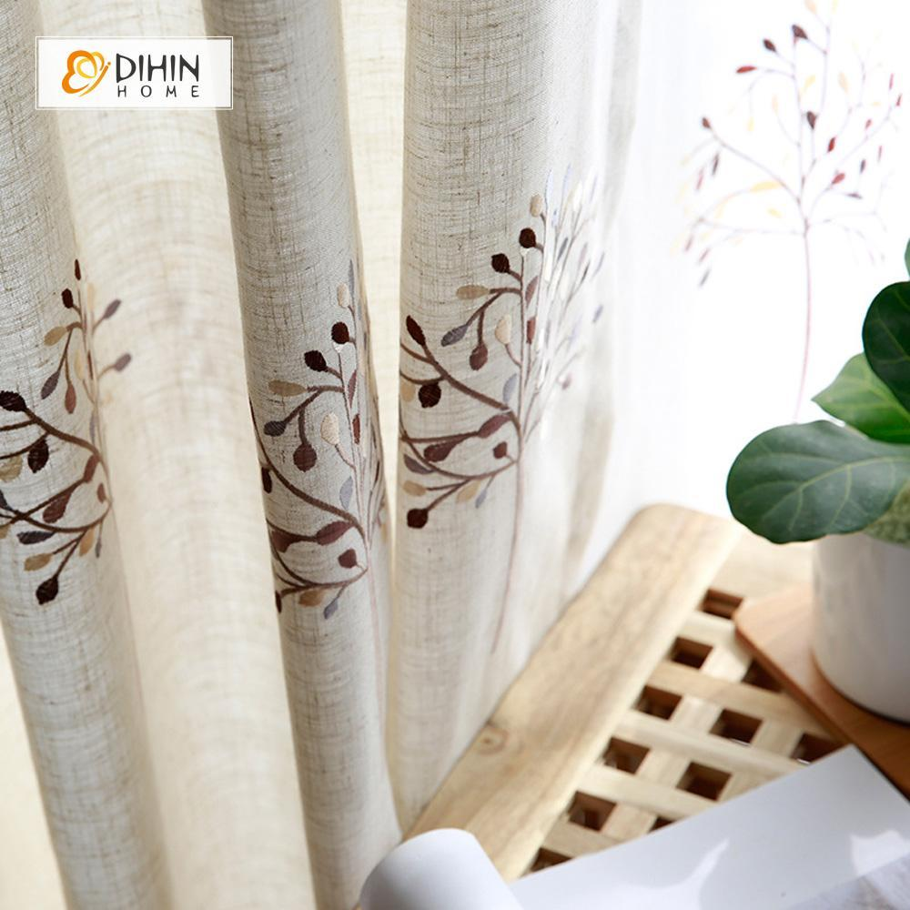 DIHINHOME Home Textile Pastoral Curtain DIHIN HOME Exquisite Tree Embroidered,Blackout Grommet Window Curtain for Living Room ,52x63-inch,1 Panel