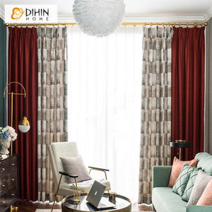 DIHINHOME Home Textile Pastoral Curtain DIHIN HOME Fashion Printed Spliced Curtains,Blackout Grommet Window Curtain for Living Room ,52x63-inch,1 Panel