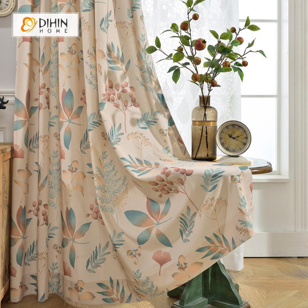 DIHINHOME Home Textile Pastoral Curtain DIHIN HOME Flower and Leaf Printed Curtain ,Cotton Linen ,Blackout Grommet Window Curtain for Living Room ,52x63-inch,1 Panel