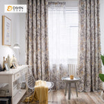 DIHINHOME Home Textile Pastoral Curtain DIHIN HOME Flower Group Printed Curtain ,Cotton Linen ,Blackout Grommet Window Curtain for Living Room ,52x63-inch,1 Panel
