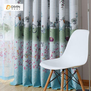DIHINHOME Home Textile Pastoral Curtain DIHIN HOME Flowers and Bikes Printed,Blackout Grommet Window Curtain for Living Room ,52x63-inch,1 Panel