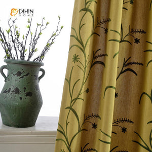 DIHINHOME Home Textile Pastoral Curtain DIHIN HOME Flowers and Plants Embroidered Curtain ,Cotton Linen ,Blackout Grommet Window Curtain for Living Room ,52x63-inch,1 Panel