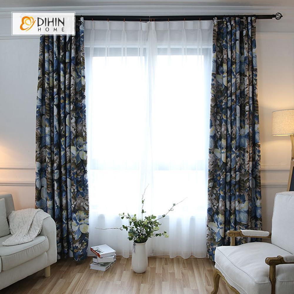 DIHINHOME Home Textile Pastoral Curtain DIHIN HOME Flowers Painting Printed,Blackout Grommet Window Curtain for Living Room ,52x63-inch,1 Panel