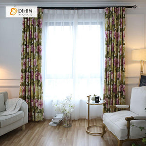 DIHINHOME Home Textile Pastoral Curtain DIHIN HOME Flowers Pink Leaves Green Printed,Blackout Grommet Window Curtain for Living Room ,52x63-inch,1 Panel