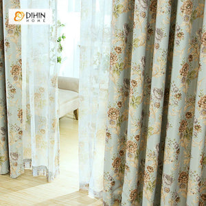 DIHINHOME Home Textile Pastoral Curtain DIHIN HOME Flowers Yellow Printed,Blackout Grommet Window Curtain for Living Room ,52x63-inch,1 Panel