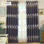 DIHINHOME Home Textile Pastoral Curtain DIHIN HOME  Four-leaf Clovers Embroidered,Blackout Grommet Window Curtain for Living Room ,52x63-inch,1 Panel
