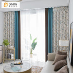 DIHINHOME Home Textile Pastoral Curtain DIHIN HOME Garden Coffee Blue Fabric Leaves Printed,Blackout Grommet Window Curtain for Living Room ,52x63-inch,1 Panel